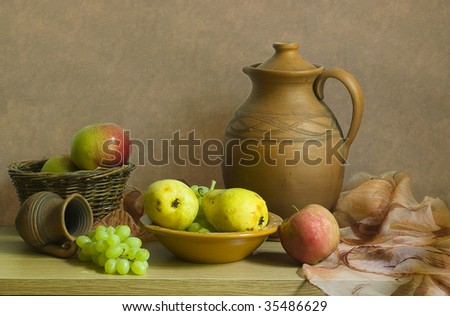 Fruits and pitcher