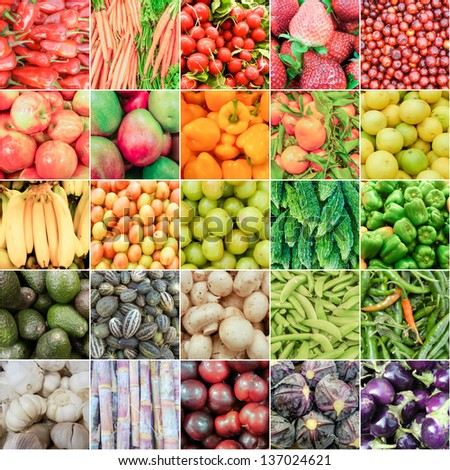 Fruits and Vegetable bounty of Summer organized in Rainbow theme - stock photo