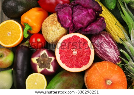 Fruits and vegetable closeup - stock photo