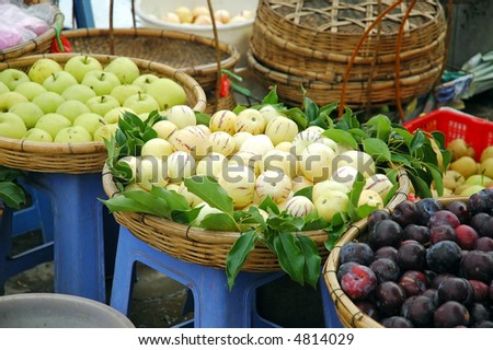 fruits and vegetable for sales in a morning traditional bazaar