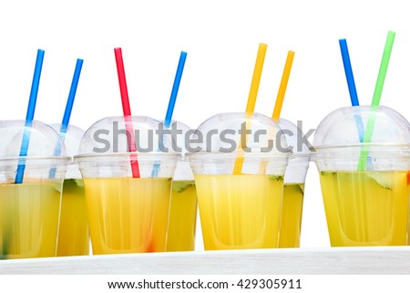 Fruits and vegetable juice in glass, healthy drinks isolated on white