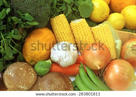Fruits and Vegetables and other Foodstuffs - stock photo