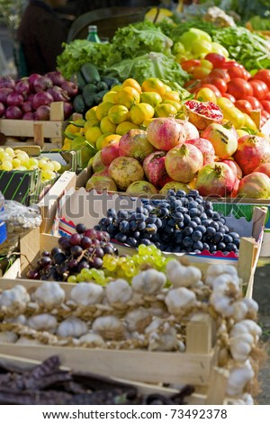 Fruits and vegetables at farmer's market - stock photo
