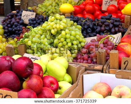 Fruits and vegetables at the fruit market         - stock photo