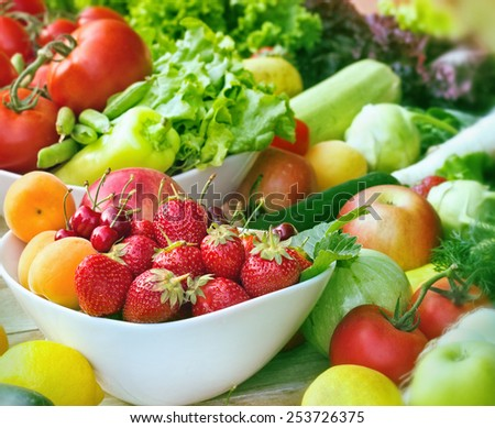 Fruits and vegetables close-up - stock photo