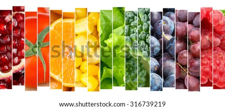 Fruits and vegetables concept. Fresh food - stock photo