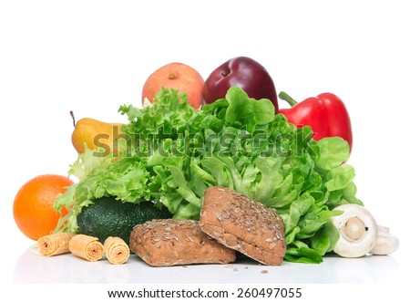Fruits and vegetables diet weight loss morning breakfast concept organic red apple egg orange salad peach pear avocado bread with seeds and mashrooms on table white background - stock photo