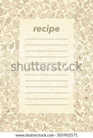 Fruits and vegetables frame for menu or recipe - stock photo