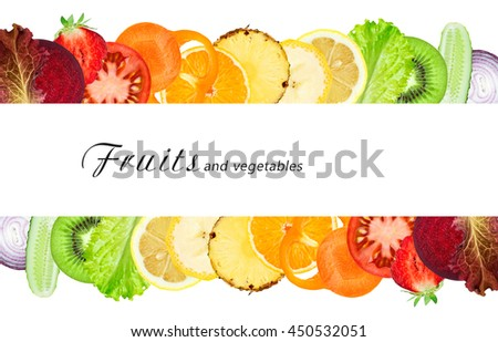 Fruits and vegetables. Fresh sliced. Healthy food concept