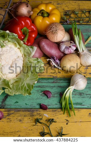 Fruits and vegetables, healthy food ingredients. Vegetarian diet, healthy organic food concept. Top view, copy space.