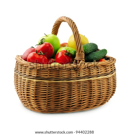 fruits and vegetables in basket isolated on a white background - stock photo