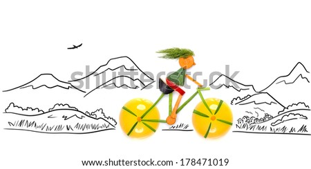 Fruits and vegetables in the shape of a female cyclist riding a bike in the country. - stock photo