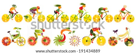 Fruits and vegetables in the shape of bike set with cyclists. - stock photo