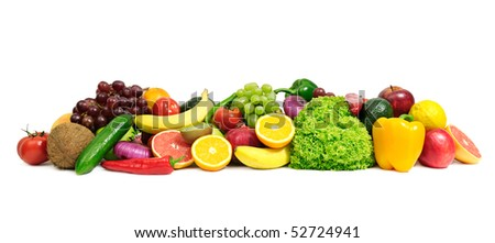 fruits and vegetables isolated on a white - stock photo