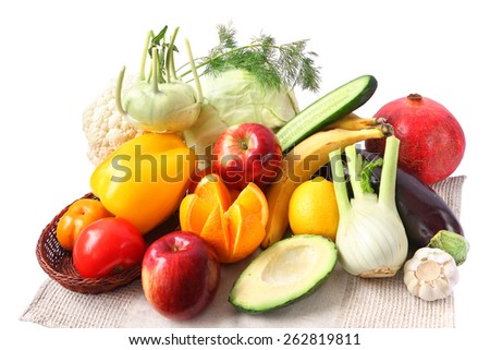Fruits and vegetables isolated on a white background - stock photo