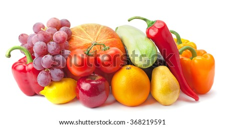 Fruits and vegetables isolated on a white background. - stock photo
