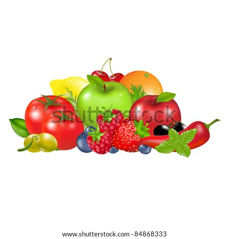 Fruits And Vegetables, Isolated On White Background - stock photo