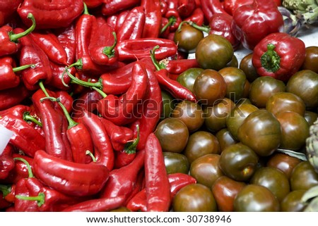 Fruits and vegetables on a street market. Borough market - stock photo
