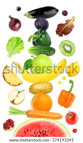 Fruits and vegetables on white. Healthy food concept - stock photo