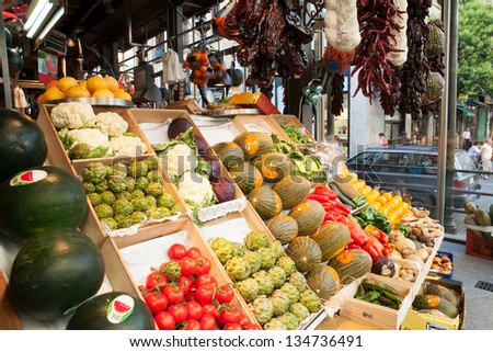 Fruits and vegetables piles in a traditional market, in Madrid, Spain. - stock photo