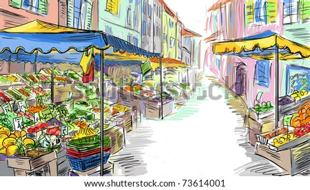 Fruits and vegetables shoping.Illustration - stock photo