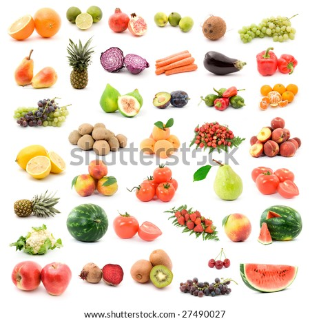 fruits and vegetables studio isolated