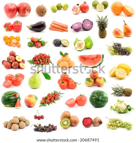 fruits and vegetables studio isolated over white - stock photo
