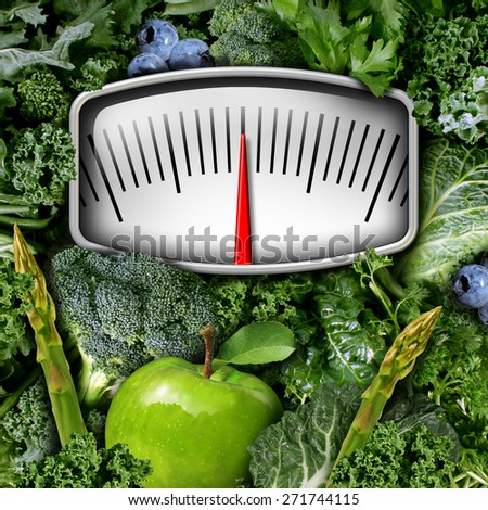 Fruits and vegetables weight scale concept as a group of natural food as broccoli blue berries and green leafy produce with a measuring meter as a symbol for healthy diet nutrition and fitness. - stock photo