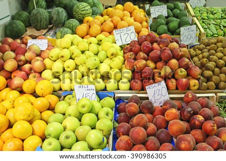 Fruits and veggies at corner stall in Italy