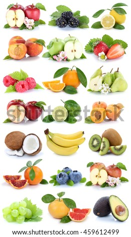 Fruits apple orange berries apples oranges banana grapes fresh fruit strawberry pear collection isolated on white
