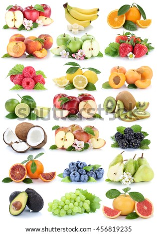 Fruits apple orange berries apples oranges banana grapes fresh strawberry pear collection isolated on white