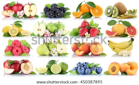 Fruits apple orange berries apples oranges banana strawberry collection isolated on a white background - stock photo