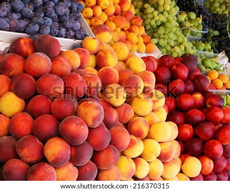 Fruits at a farmers market. - stock photo