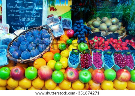 Fruits at a farmers market - stock photo