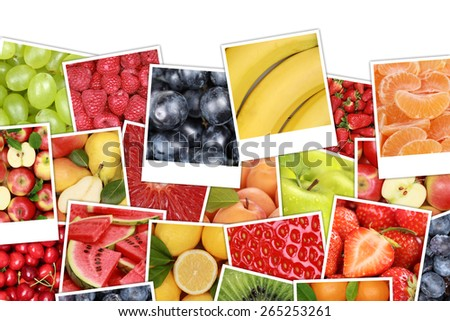 Fruits background with apples, oranges, lemons, banana, strawberry and copyspace - stock photo