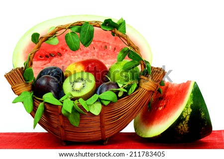 Fruits basket with watermelon - stock photo