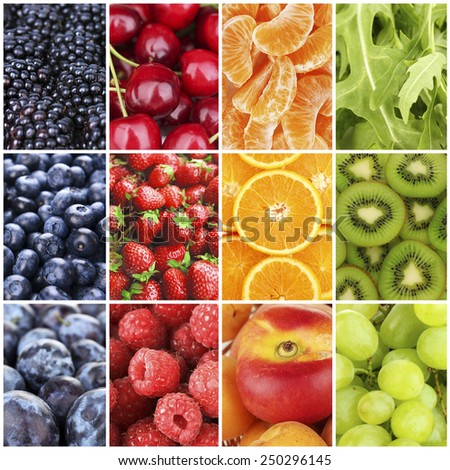 Fruits, berries and greens in colorful collage - stock photo