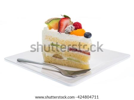 fruits cake isolated on white background - stock photo