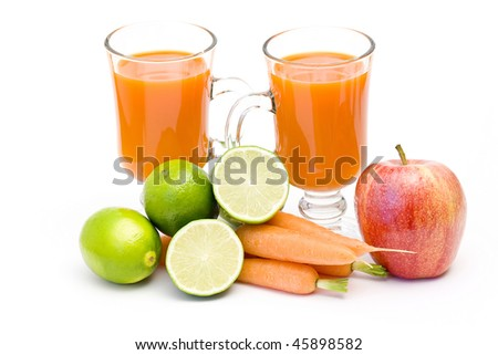 fruits, carrots and fresh juice