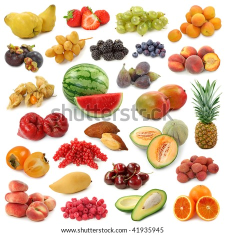 Fruits collection isolated on white background - stock photo