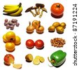 Fruits collection mosaic on white background - stock photo