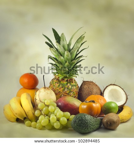Fruits exotic and tropical abstract still life - stock photo