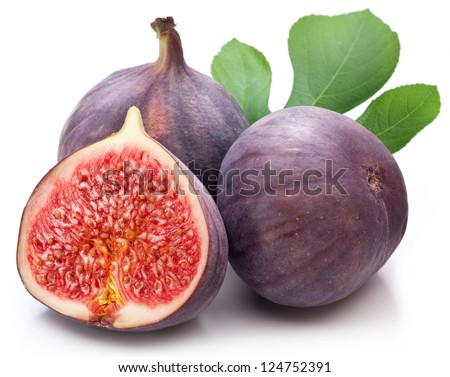 Fruits figs on white background - stock photo