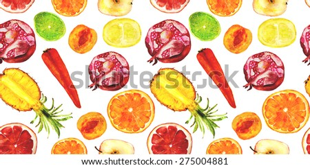 fruits for fresh juices seamless pattern: pineapple, pomegranate, orange, grapefruit, lime, peach, carrot, apple. hand-drawn watercolor - stock photo