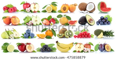 Fruits fruit collection orange apple apples banana pear grapes lemon cherry organic isolated