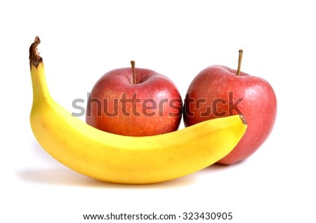 Fruits. Fruits - red apples and banana ,Fruits.Fruits. Fresh fruits. Fruits on white background. Fruits.Fruits. Sweet fruits. Fruits. Fruits. Fruits - red apples and banana isolated on white, Fruits.  - stock photo