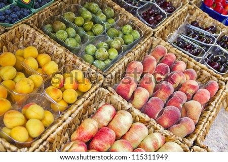 Fruits in a market - stock photo