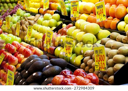 Fruits in a market in Adelaide, South Australia - stock photo
