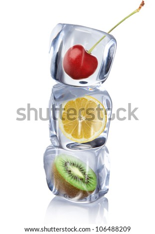 Fruits in Ice cubes over white - stock photo