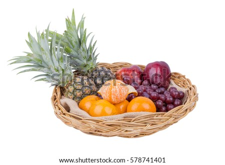 Fruits in the basket isolated on white background (with clipping path)